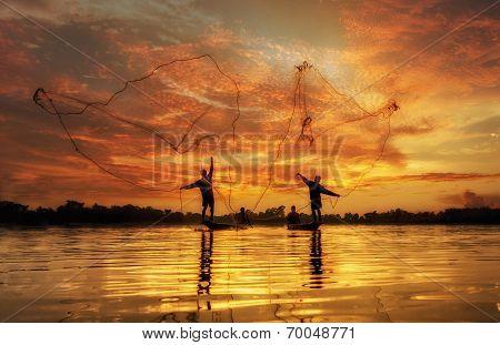 Fisherman of Lake in action when fishing