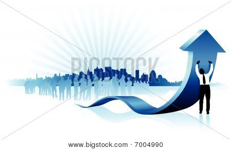 Businessman Holding Up Blue Arrow With New York Skyline Backgrou