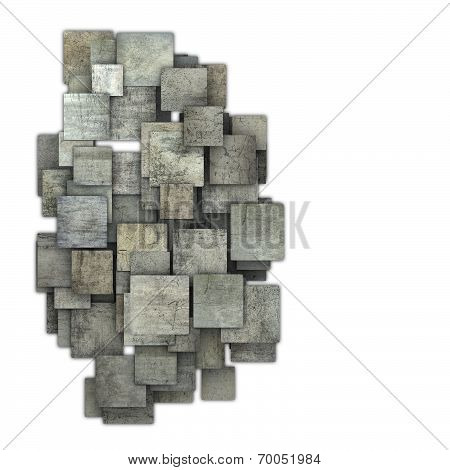 3D Gray Square Tile Grunge Pattern On White