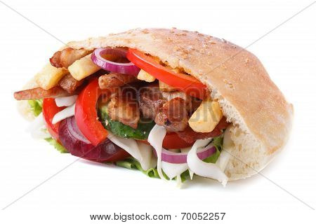 Doner With Meat, Vegetables And Fries In Pita Isolated On White