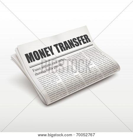 Money Transfer Words On Newspaper