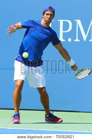 Professional tennis player Fernando Verdasco practices for US Open 2013