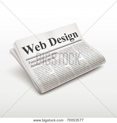 Web Design Words On Newspaper