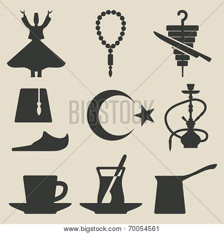 Turkish national icons set