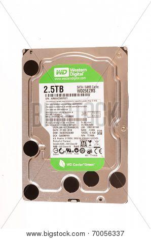 Hayward, CA - August 11, 2014: Western Digital 2.5 TB Caviar Green hard drive