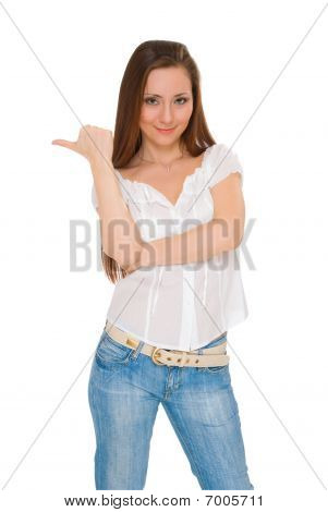 Beautiful Young Woman Shows Finger In The Direction