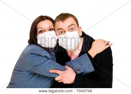 Scared Man And Woman Dressings Mask
