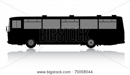 Bus silhouette on a white background.