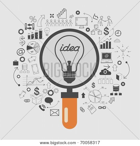 Business doodles icons set. Concept of productive business ideas. Lightbulb with business icon and magnifying glass.