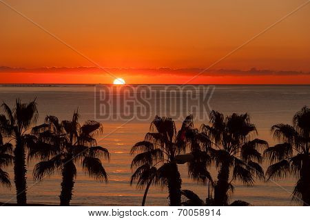 Sunset at Malaga beach
