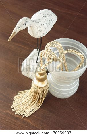 Curtain Tassel Display With Glass Vase