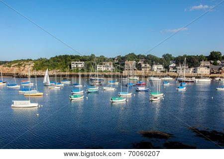 ROCKPORT-AUGUST 08:  A view of Rockport Harbour and sailing boats in summer day, Rockport, Massachusetts, USA on August 08, 2014.