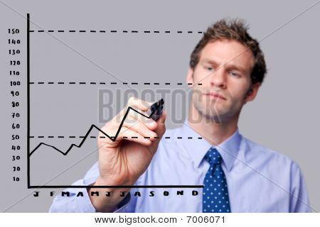 Businessman Drawing On Glass Screen.
