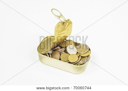 Fish Can Tin With Lots Of Coins