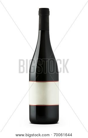 Red Wine Bottle With Blank Etiquette