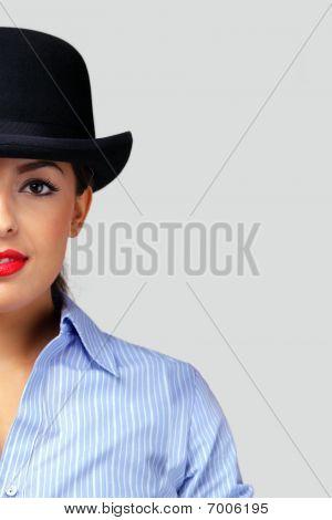 Businesswoman Wearing A Bowler Hat.
