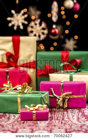 Xmas Presents with Single-Colored Ribbons