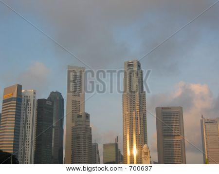 Raffles Place Singapore At Dawn