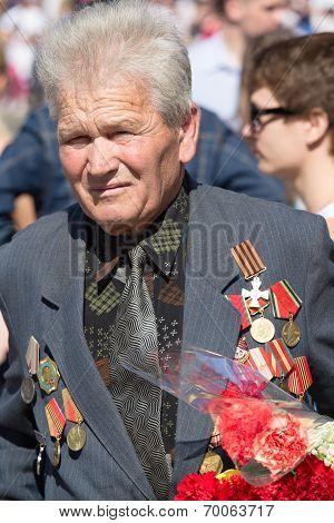 War Veteran In The Parade In Kiev, Ukraine