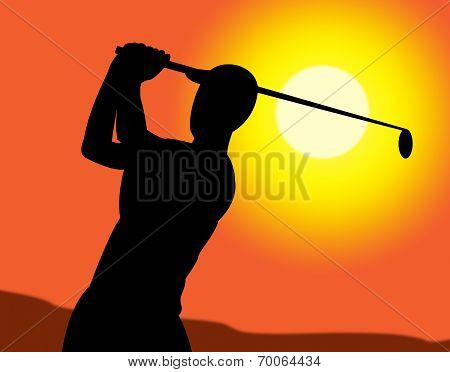 Golf Swing Represents Recreation Golfing And Exercise