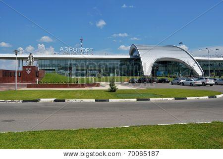 BELGOROD, RUSSIA - JUNE 9, 2014: New passenger terminal of Belgorod International airport. Opened in 2013, new terminal can serve 450 persons per hour