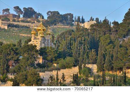JERUSALEM, ISRAEL - MARCH 20, 2014: Church of Mary Magdalene on the Mount of Olives, near the Garden of Gethsemane. The church was built in 1886 by Tsar Alexander III of Russia to honor his mother