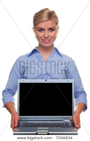 Woman Holding A Laptop With Blank Screen