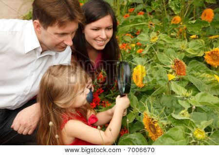 Little girl in red dress considers flower together with parents through magnifying glass.