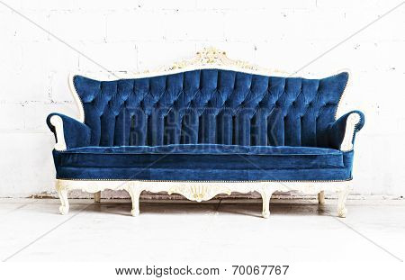 Blue classical style sofa couch
