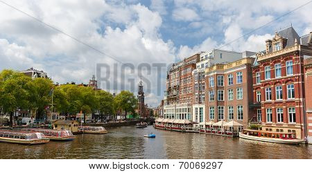 City View Of Amsterdam Canals And Typical Houses, Holland, Netherlands.