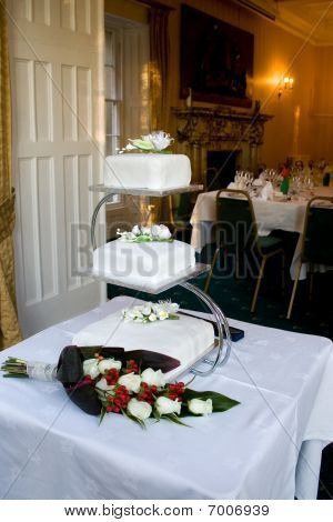 Three Tier Wedding Cake On Chrome Display Stand