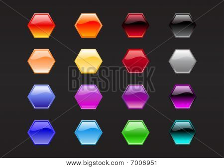 Hexagon Shape Buttons