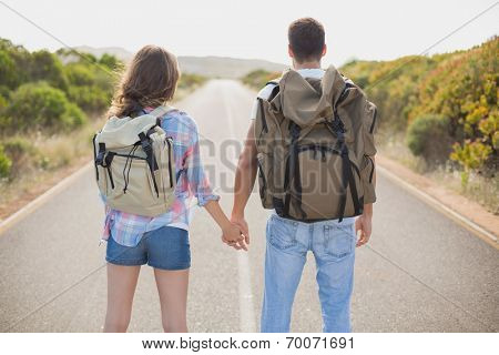 Rear view of hiking young couple standing on countryside road