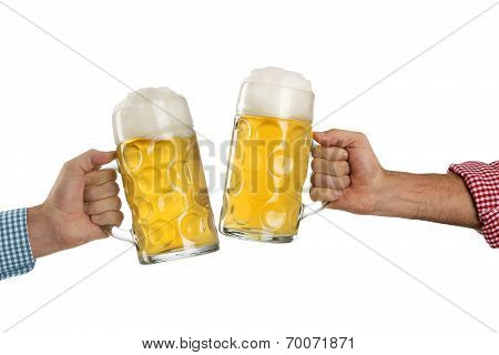 Cheers At The Oktoberfest In Front Of A White Background