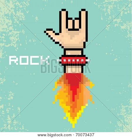 vector flat pixel rock n roll icon with fire