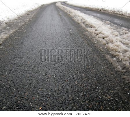 Asphalt Street Texture, Snow Road