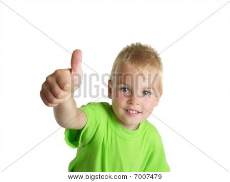 Smiling Boy Shows ок Gesture Isolated On White Background