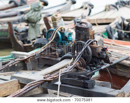 Primitive Boat Engines In Myanmar