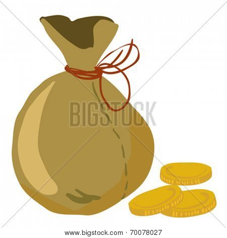 moneybag with some coins