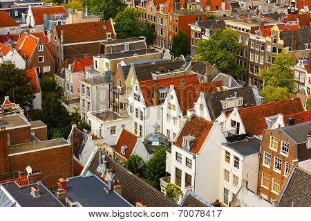 Amsterdam City View From Westerkerk, Holland, Netherlands.
