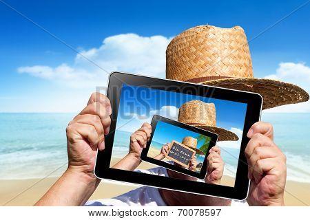 Human Hands Hold A Digital Tablet