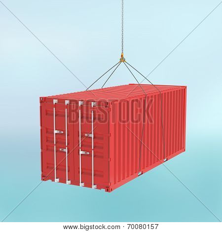 Red Shipping Container On The Hook - Cutting Path