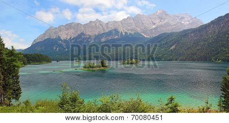 Beautiful View To Lake Eibsee And Zugspitze, Bavarian Landscape