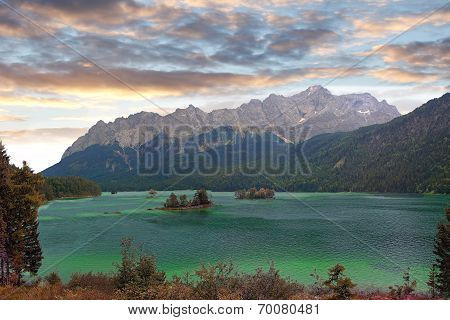 Lake Eibsee And Zugspitze, Bavarian Landscape