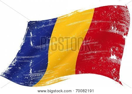 waving Chadian grunge flag. Flag of  Chad  in the wind with a texture