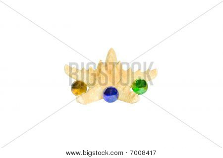 Starfish With Three Glass Spheres Isolated On White