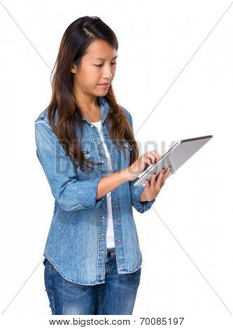Singaporean woman use digital tablet