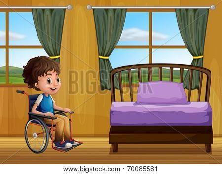 Ilustration of a boy in a bedroom