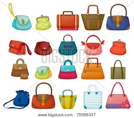 Ilustration of a set of woman purses
