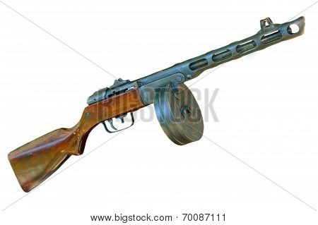 Russian Ppsh Machine Gun Taken Closeup.isolated.